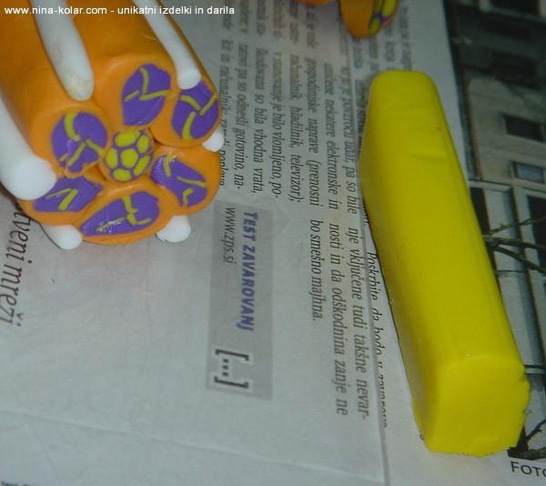 Ustvarjalne delavnice - Novo mesto - tehnika Mille Fiori -  vzorček v oranžni in vijolični barvi