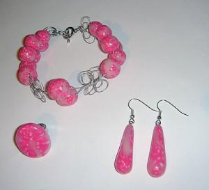 Unikaten nakit - komplet zapestnice, prstana in uhanov.
