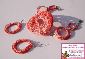 Kvačkan nakit - rožnata zapestnica in uhani