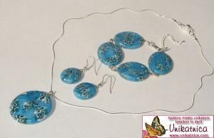 Sončni nakit - komplet zapestnice, uhanov ter obeska v turkizni barvi