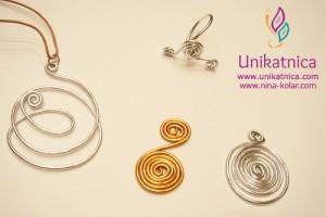 Ustvarjalne delavnice - nakit iz žice - Novo mesto 25. 3. 2014 - obeski raznolikih vzorcev minimalističnega sloga