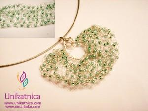 Ustvarjalne delavnice - nakit iz žice - Novo mesto 25. 3. 2014 - kvačkan obesek/ogrlica s turkiznimi perlicami