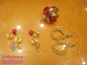 Ustvarjalne delavnice - nakit iz žice - Novo mesto 25. 3. 2914 - uhani iz žice in raznobarven prstan