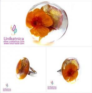 Cvetlični nakit - unikatni, ročno izdelan prstan z zlazico in lističem cveta pelargonije