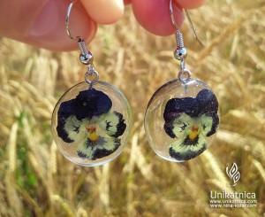 Cvetlicni nakit - viseči uhani, mačeha