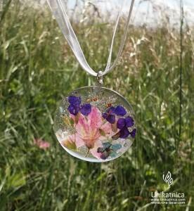 Cvetlični nakit - ogrlica, kostanj, spominčica