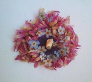 Cvetlična ogrlica s pravim otroškim zobkom - nekaj možnosti postavitve cvetja