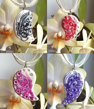 Glineni nakit - metuljeve ogrlice