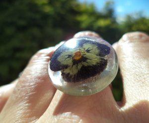Cvetlični nakit - sveže - prstan s cvetovi temno modro-vijola rumene mačehe