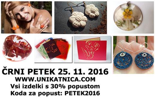 Črni petek v e-trgovini Unikatnica.com - 30% na vse izdelke s kodo ČRNI PETEK2016