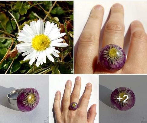 Cvetlični nakit - prstan z marjetico in orhidejo