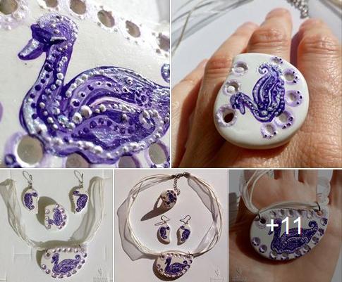 Eko nakit iz gline - vijola labod