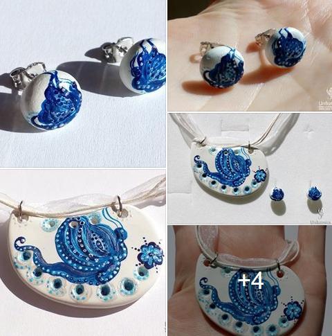 Eko nakit iz gline - modri metulj